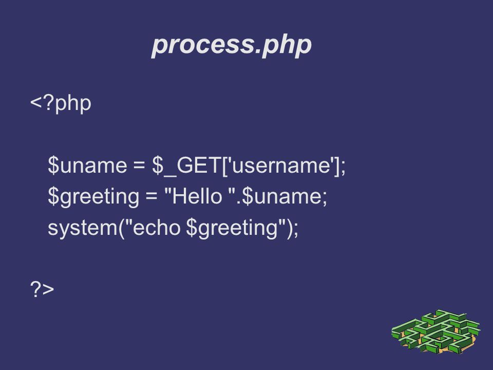 process.php <?php $uname = $_GET['username']; $greeting =