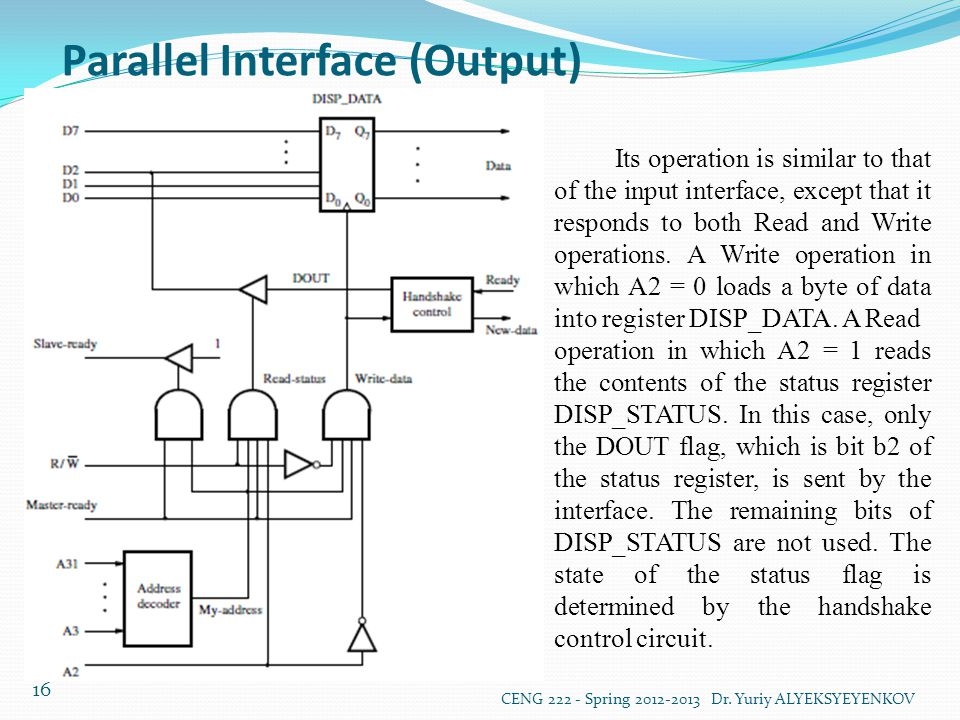 Parallel Interface (Output) CENG 222 - Spring 2012-2013 Dr. Yuriy ALYEKSYEYENKOV 16 Its operation is similar to that of the input interface, except th