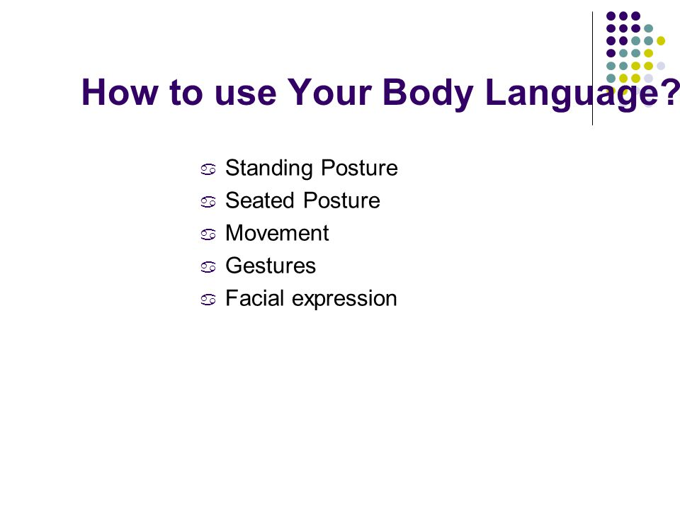 How to use Your Body Language.
