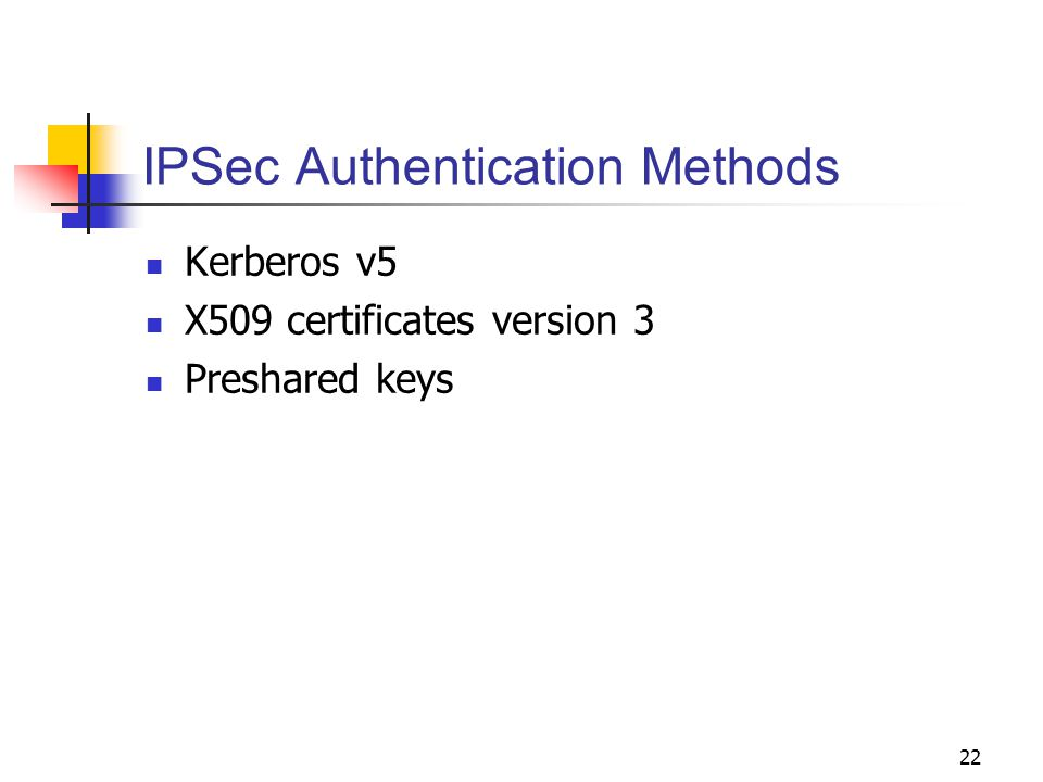 22 IPSec Authentication Methods Kerberos v5 X509 certificates version 3 Preshared keys