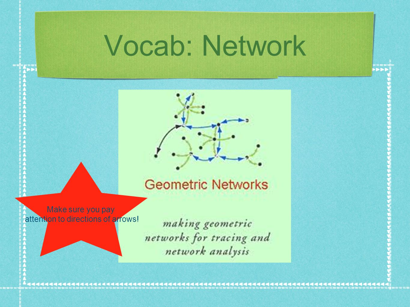 Vocab: Network Make sure you pay attention to directions of arrows!