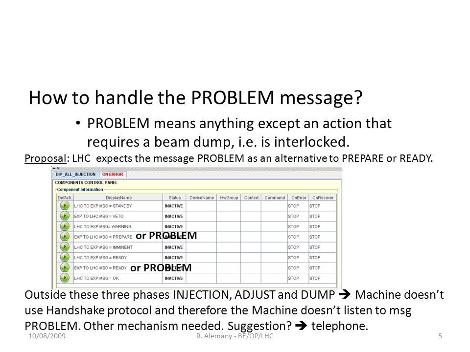 How to handle the PROBLEM message.