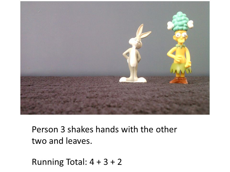 Person 3 shakes hands with the other two and leaves. Running Total: 4 + 3 + 2