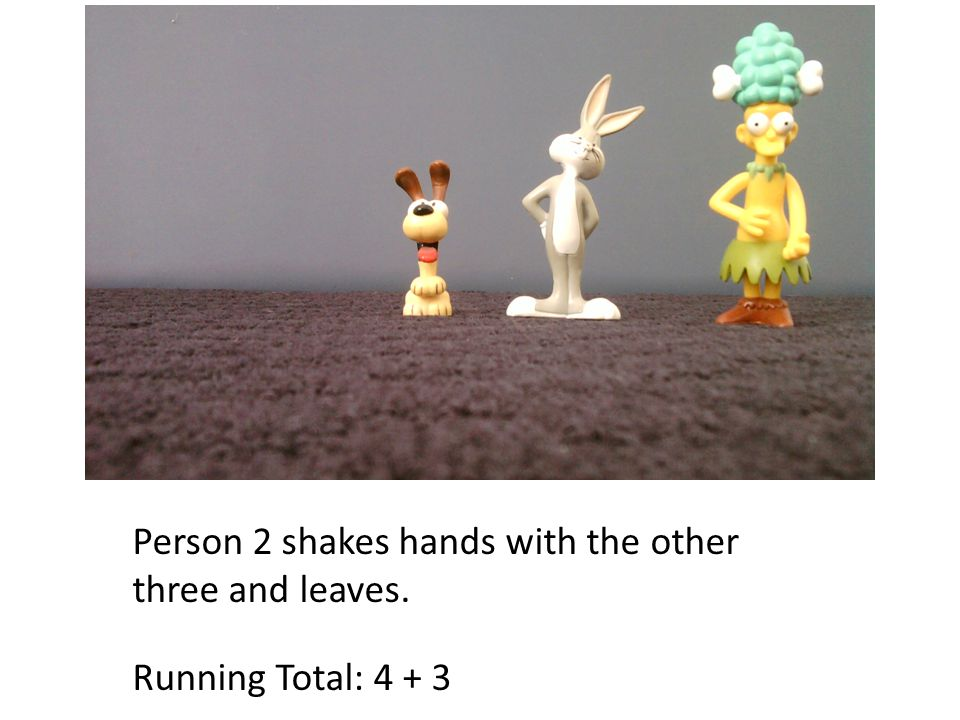 Person 2 shakes hands with the other three and leaves. Running Total: 4 + 3
