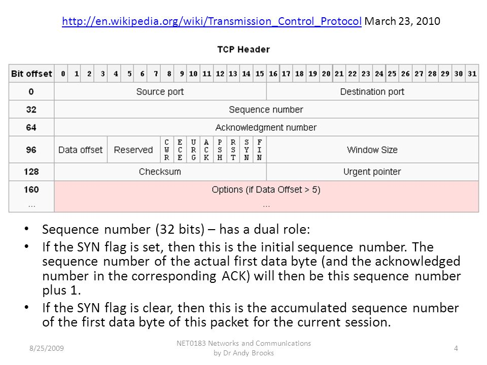 Sequence number (32 bits) – has a dual role: If the SYN flag is set, then this is the initial sequence number.