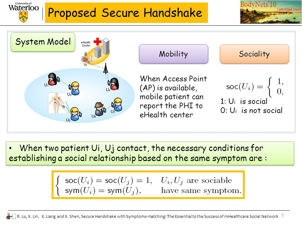 7 R. Lu, X. Lin, X. Liang and X. Shen, Secure Handshake with Symptoms-matching: The Essential to the Success of mHealthcare Social Network Proposed Se