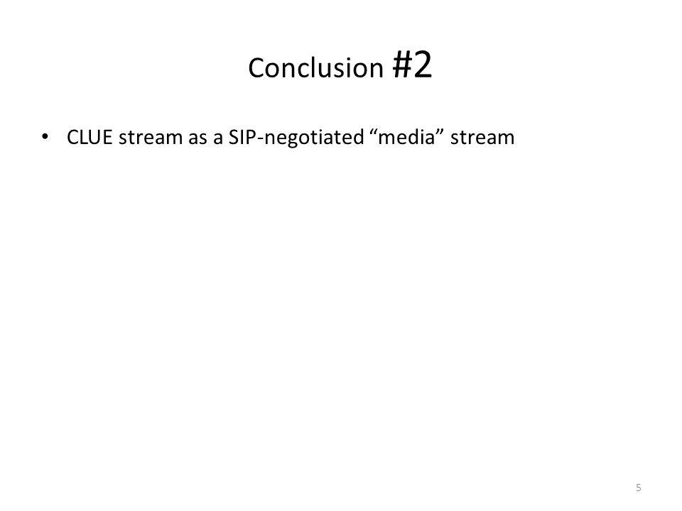 Conclusion #2 CLUE stream as a SIP-negotiated media stream 5