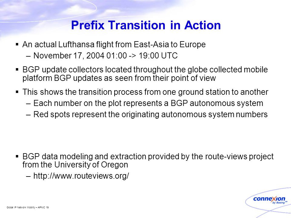 Global IP Network Mobility – APNIC 19 Prefix Transition in Action  An actual Lufthansa flight from East-Asia to Europe –November 17, 2004 01:00 -> 19