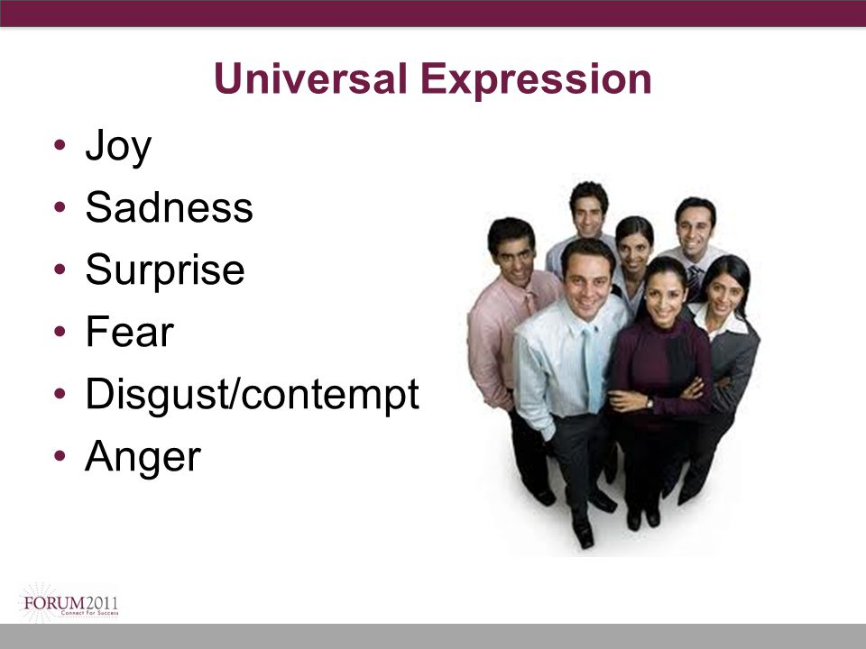 Universal Expression Joy Sadness Surprise Fear Disgust/contempt Anger