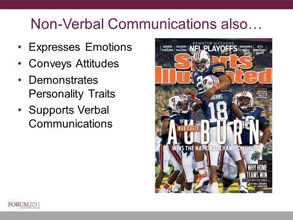Non-Verbal Communications also… Expresses Emotions Conveys Attitudes Demonstrates Personality Traits Supports Verbal Communications