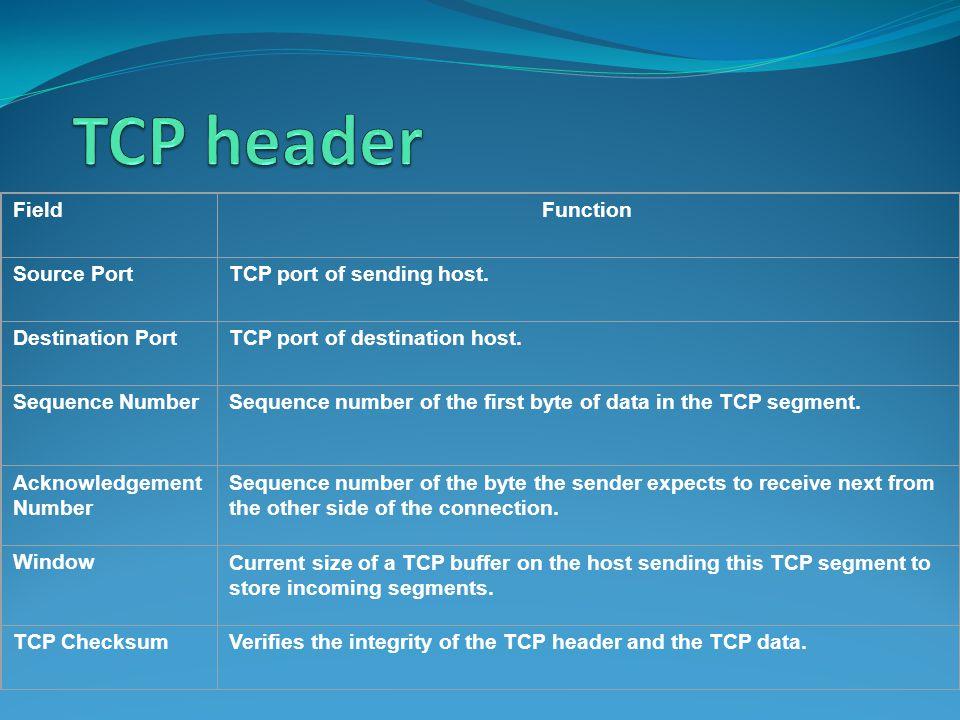 FieldFunction Source PortTCP port of sending host.