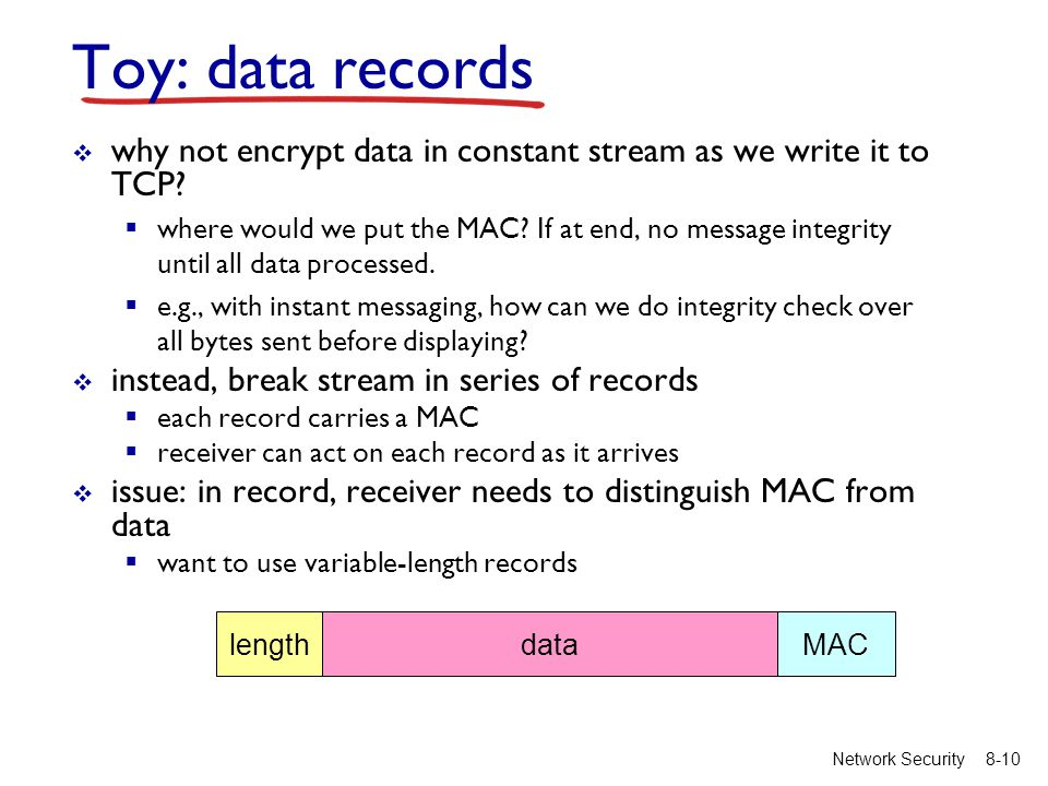 8-10Network Security Toy: data records  why not encrypt data in constant stream as we write it to TCP.