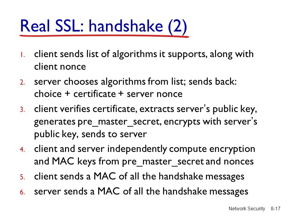 8-17Network Security Real SSL: handshake (2) 1.