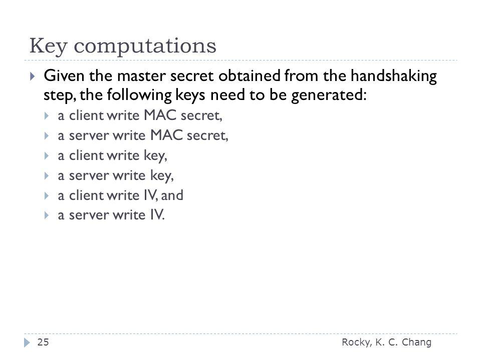 Key computations Rocky, K. C.
