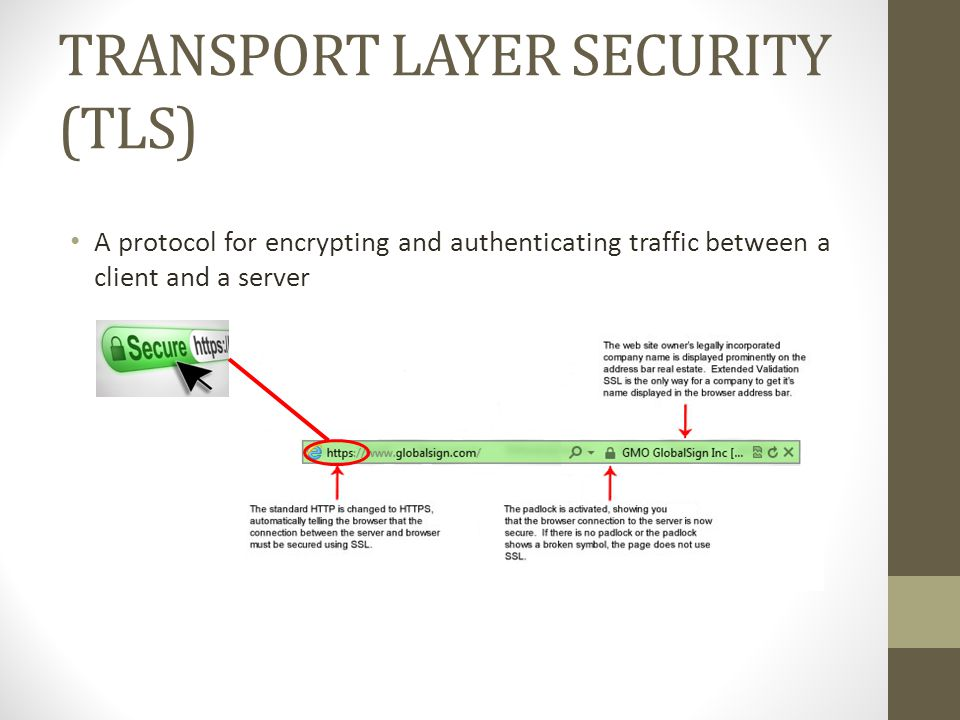 TRANSPORT LAYER SECURITY (TLS) A protocol for encrypting and authenticating traffic between a client and a server