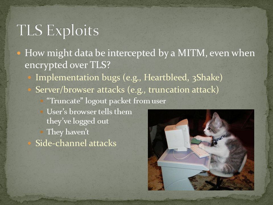 How might data be intercepted by a MITM, even when encrypted over TLS.