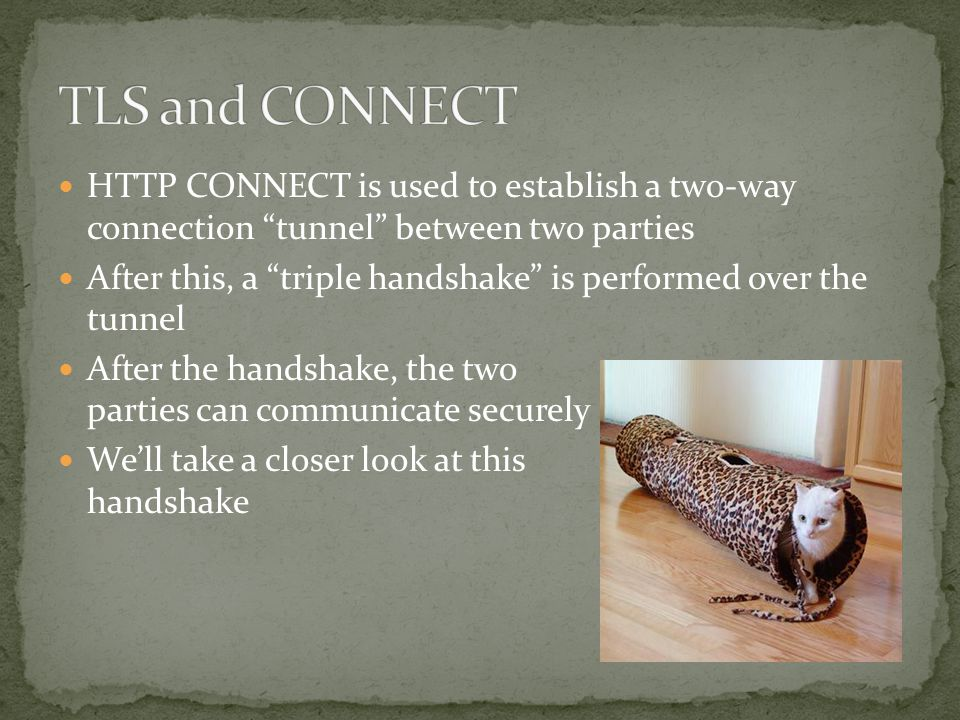 HTTP CONNECT is used to establish a two-way connection tunnel between two parties After this, a triple handshake is performed over the tunnel After the handshake, the two parties can communicate securely We'll take a closer look at this handshake