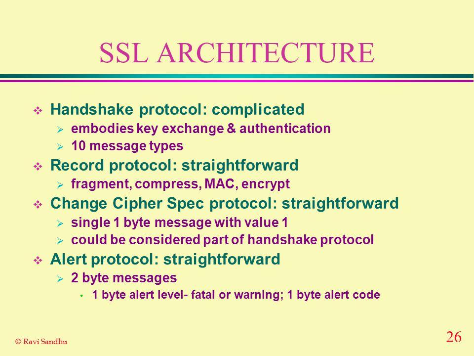 26 © Ravi Sandhu SSL ARCHITECTURE  Handshake protocol: complicated  embodies key exchange & authentication  10 message types  Record protocol: str