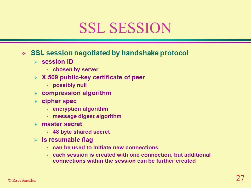 27 © Ravi Sandhu SSL SESSION  SSL session negotiated by handshake protocol  session ID chosen by server  X.509 public-key certificate of peer possi
