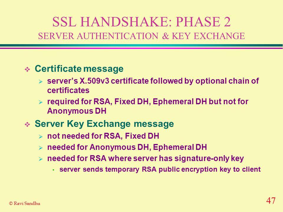 47 © Ravi Sandhu SSL HANDSHAKE: PHASE 2 SERVER AUTHENTICATION & KEY EXCHANGE  Certificate message  server's X.509v3 certificate followed by optional