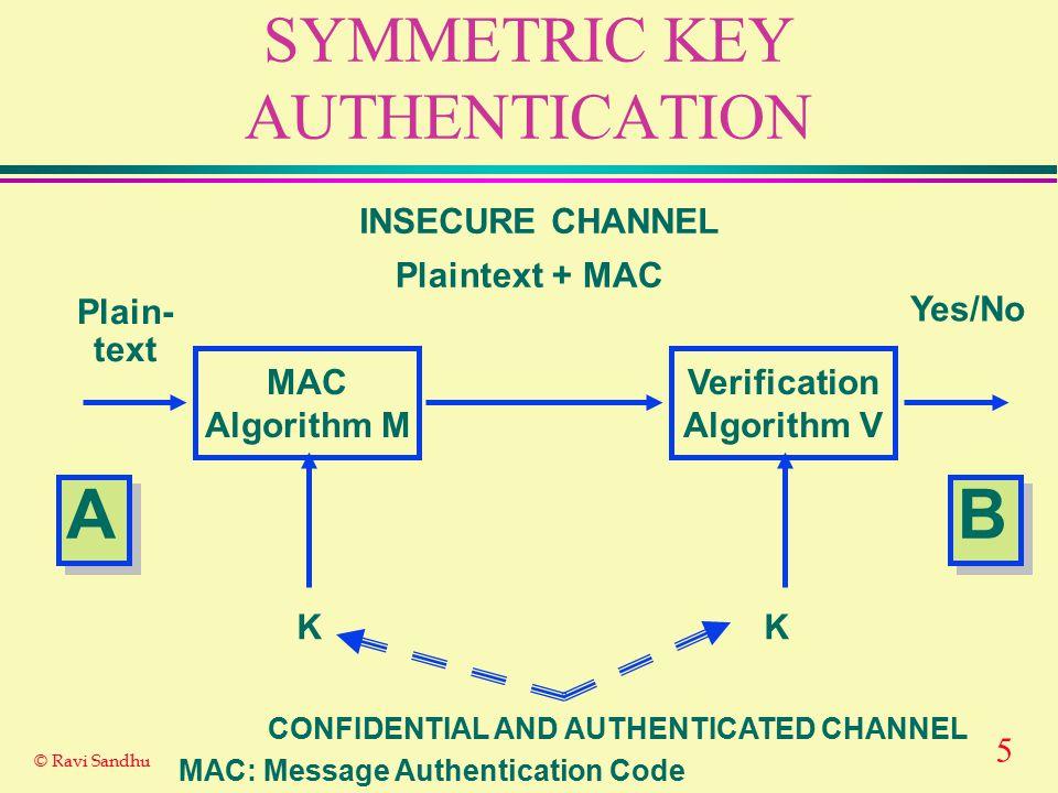5 © Ravi Sandhu SYMMETRIC KEY AUTHENTICATION MAC Algorithm M Verification Algorithm V Plain- text Yes/No Plaintext + MAC INSECURE CHANNEL K A A B B K MAC: Message Authentication Code CONFIDENTIAL AND AUTHENTICATED CHANNEL
