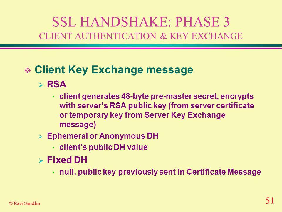 51 © Ravi Sandhu SSL HANDSHAKE: PHASE 3 CLIENT AUTHENTICATION & KEY EXCHANGE  Client Key Exchange message  RSA client generates 48-byte pre-master s