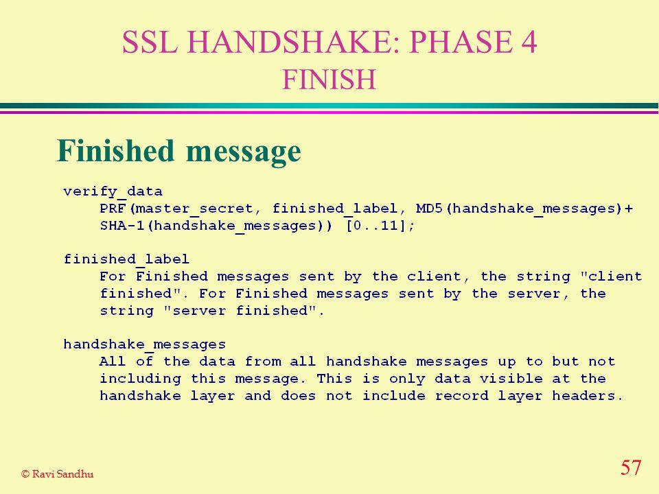 57 © Ravi Sandhu SSL HANDSHAKE: PHASE 4 FINISH Finished message