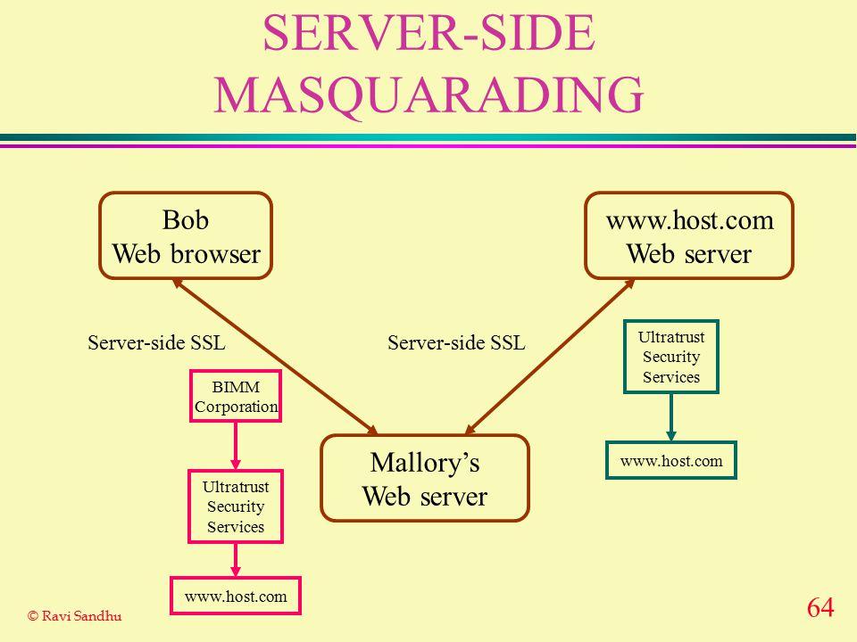 64 © Ravi Sandhu SERVER-SIDE MASQUARADING Bob Web browser www.host.com Web server Server-side SSL Ultratrust Security Services www.host.com Mallory's Web server Server-side SSL BIMM Corporation Ultratrust Security Services www.host.com