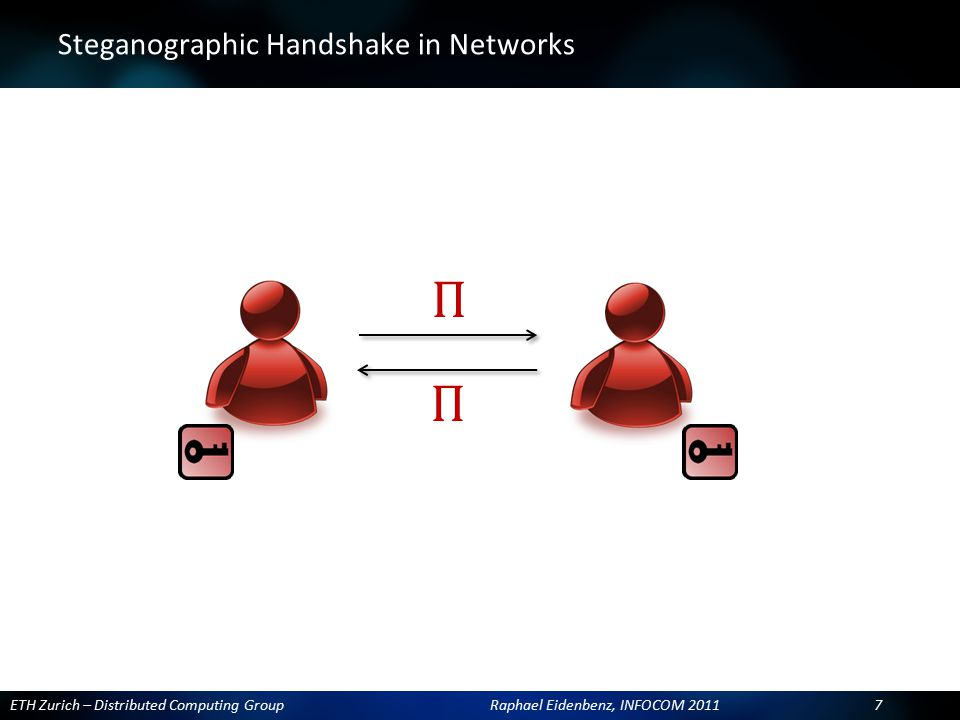 ETH Zurich – Distributed Computing Group Raphael Eidenbenz, INFOCOM 2011 7 ? Steganographic Handshake in Networks