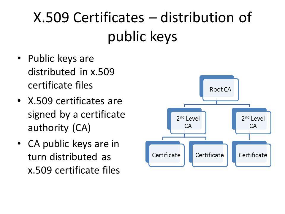 X.509 Certificates – distribution of public keys Public keys are distributed in x.509 certificate files X.509 certificates are signed by a certificate authority (CA) CA public keys are in turn distributed as x.509 certificate files Root CA 2 nd Level CA Certificate 2 nd Level CA Certificate