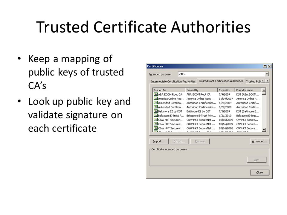 Trusted Certificate Authorities Keep a mapping of public keys of trusted CA's Look up public key and validate signature on each certificate