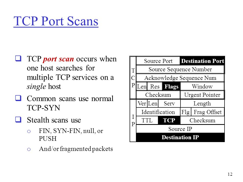 TCP Port Scans  TCP port scan occurs when one host searches for multiple TCP services on a single host  Common scans use normal TCP-SYN  Stealth sc