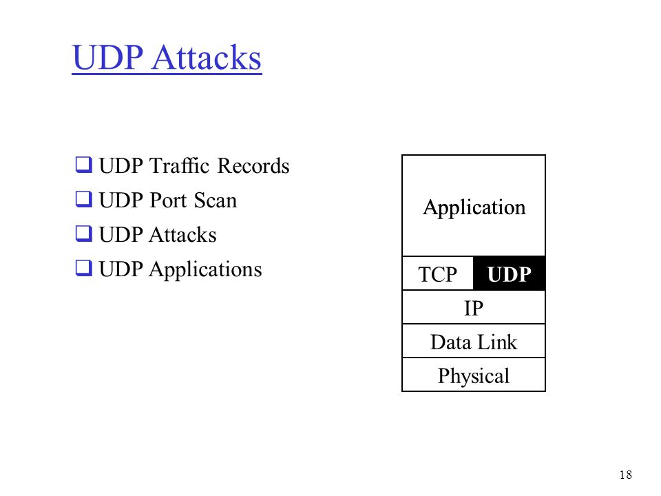 UDP Attacks  UDP Traffic Records  UDP Port Scan  UDP Attacks  UDP Applications Application TCP IP Data Link Physical UDPTCP Application 18