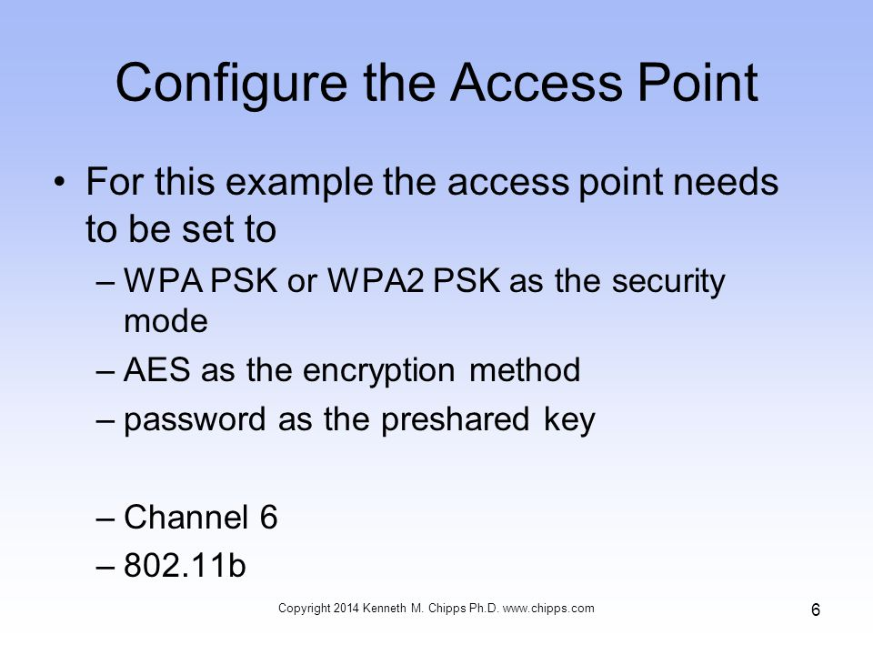 Configure the Access Point For this example the access point needs to be set to –WPA PSK or WPA2 PSK as the security mode –AES as the encryption method –password as the preshared key –Channel 6 –802.11b Copyright 2014 Kenneth M.