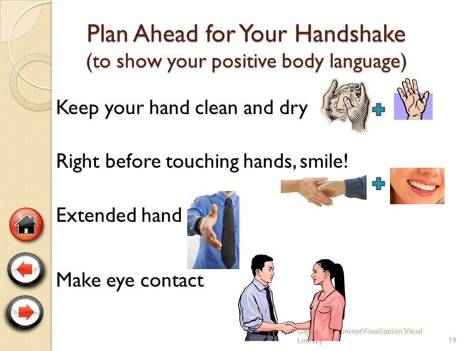 Remember your handshake? 18 GayleFisherConceptVisualization, Visual Literacy How do handshakes fit into body language? What clues are you giving? What
