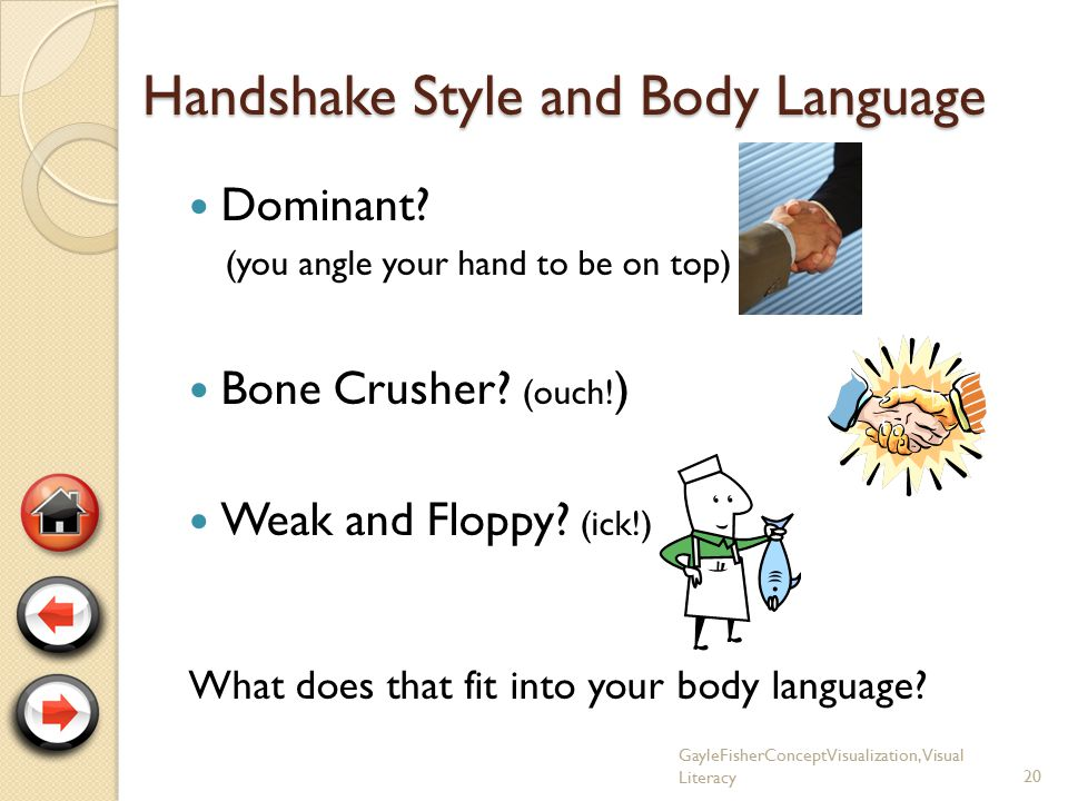 Plan Ahead for Your Handshake (to show your positive body language) Keep your hand clean and dry Right before touching hands, smile.