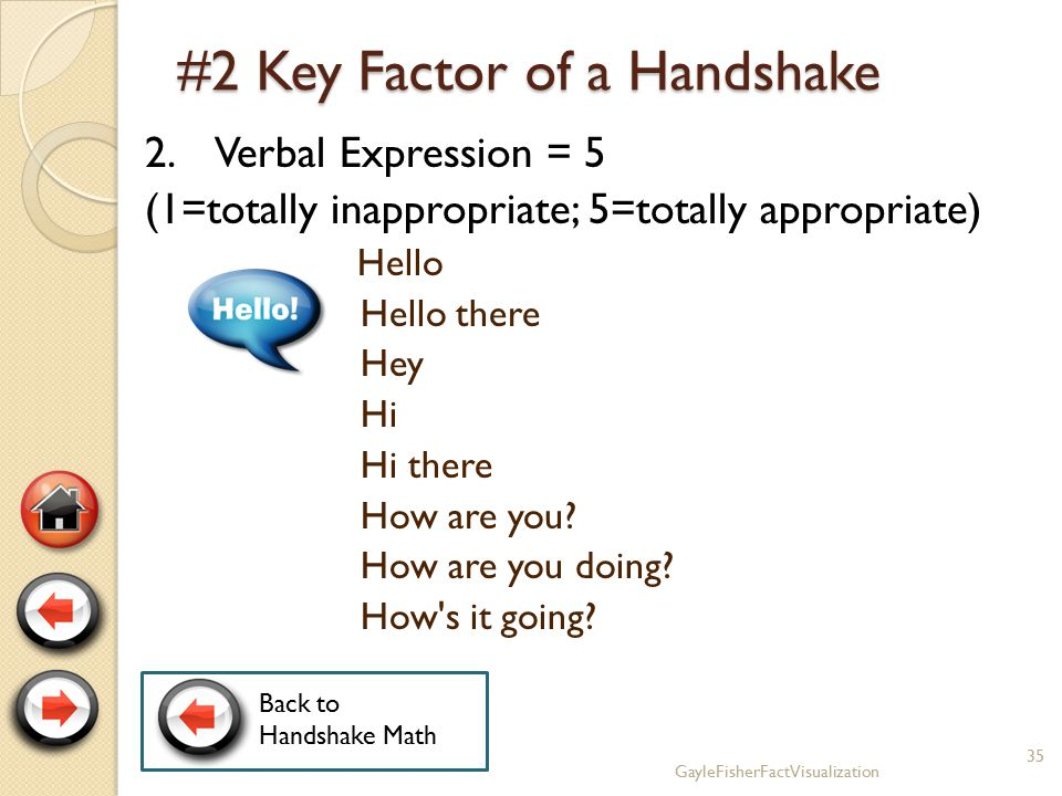 #1 Key Factor of a Handshake 1. Eye Contact = 5 (1=none; 5=direct) 34GayleFisherFactVisualization Back to Handshake Math