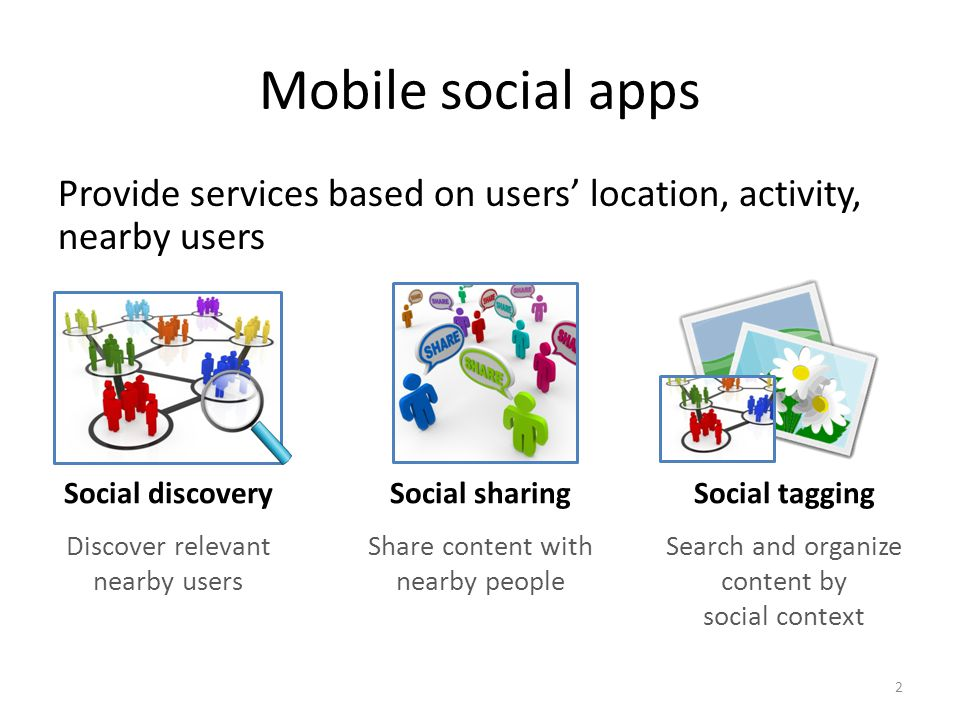 Mobile social apps Provide services based on users' location, activity, nearby users Social discovery Discover relevant nearby users Social sharing Share content with nearby people 2 Social tagging Search and organize content by social context
