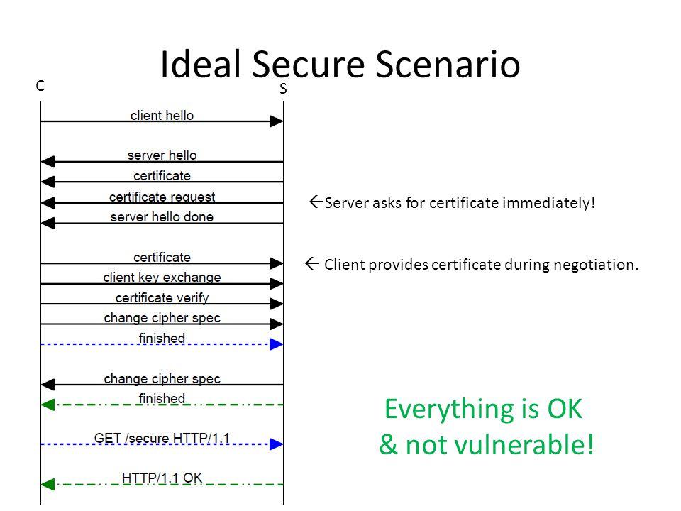Ideal Secure Scenario  Server asks for certificate immediately.