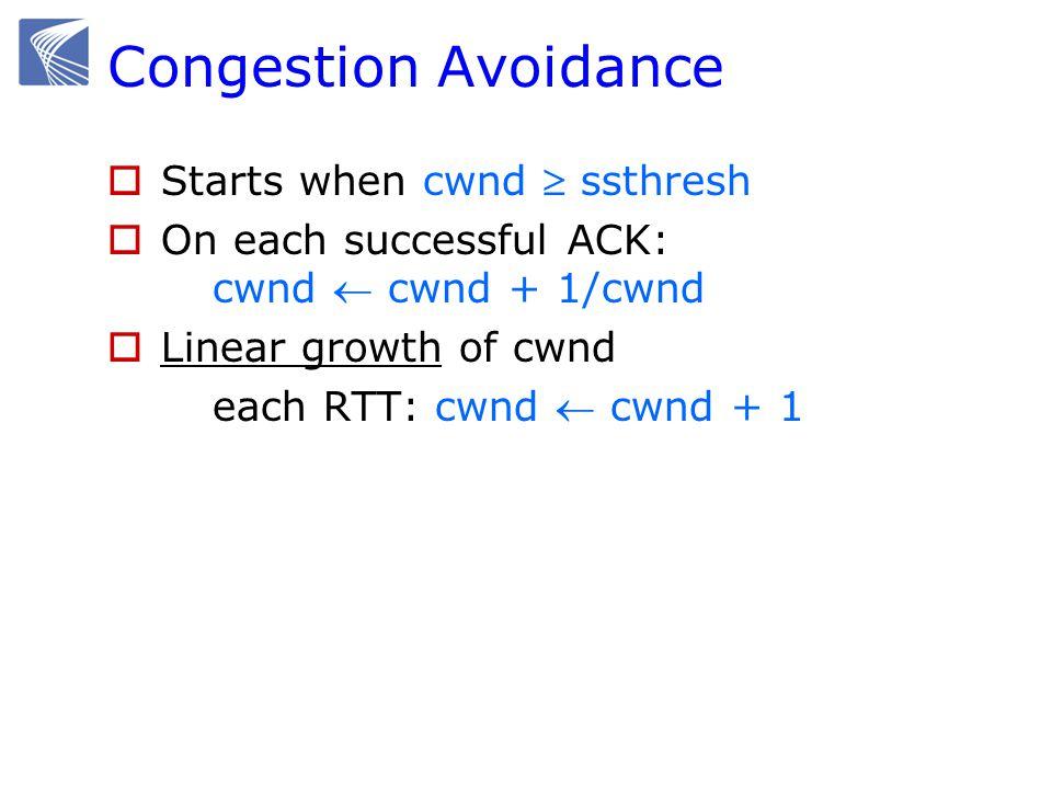 Congestion Avoidance  Starts when cwnd  ssthresh  On each successful ACK: cwnd  cwnd + 1/cwnd  Linear growth of cwnd each RTT: cwnd  cwnd + 1