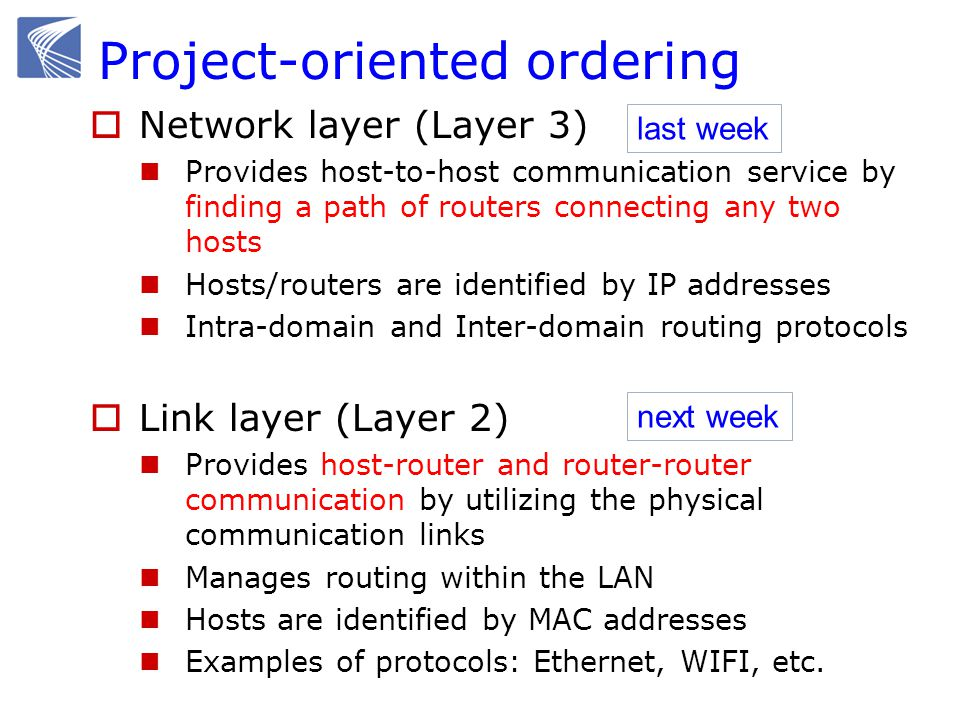 Project-oriented ordering  Network layer (Layer 3) Provides host-to-host communication service by finding a path of routers connecting any two hosts