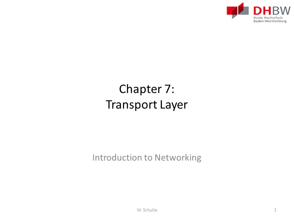 Chapter 7: Transport Layer Introduction to Networking W. Schulte1