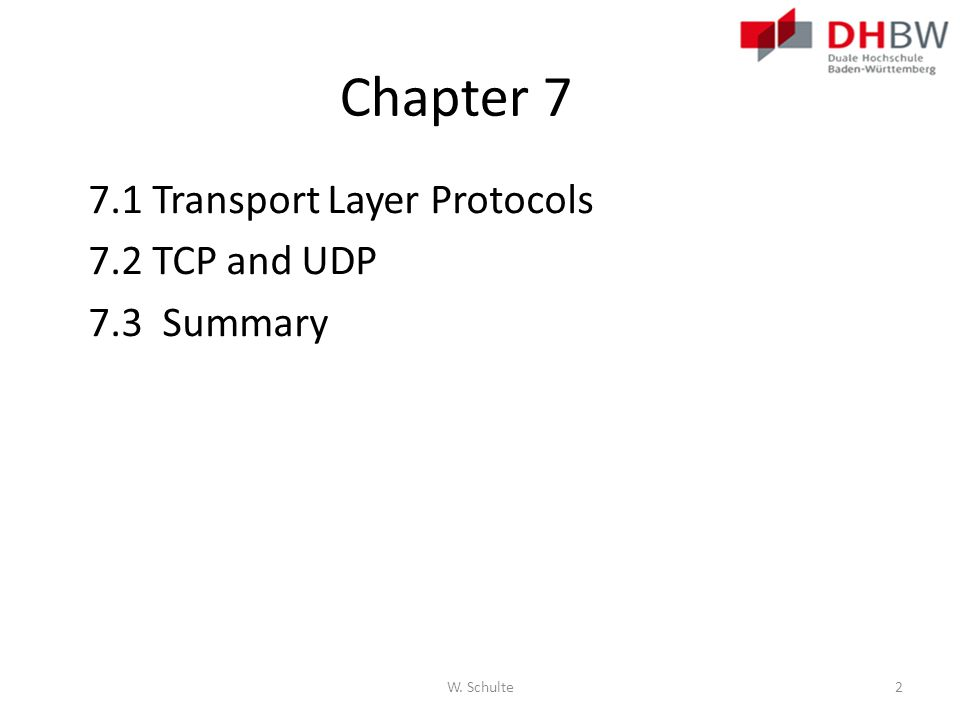 Chapter 7 7.1 Transport Layer Protocols 7.2 TCP and UDP 7.3 Summary W. Schulte2