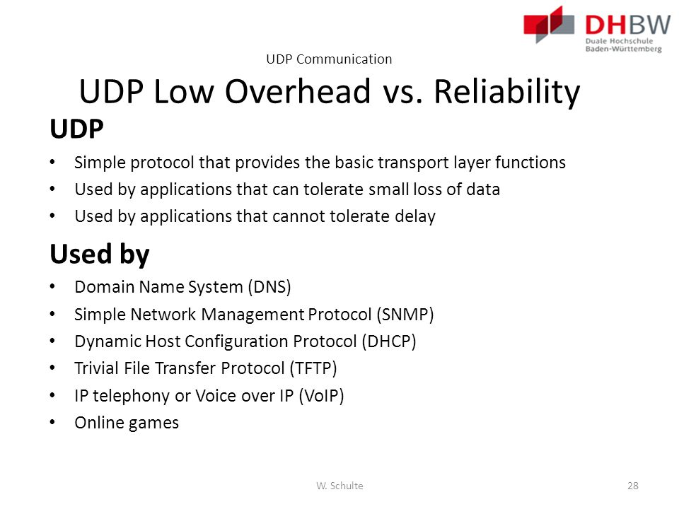 UDP Communication UDP Low Overhead vs. Reliability UDP Simple protocol that provides the basic transport layer functions Used by applications that can