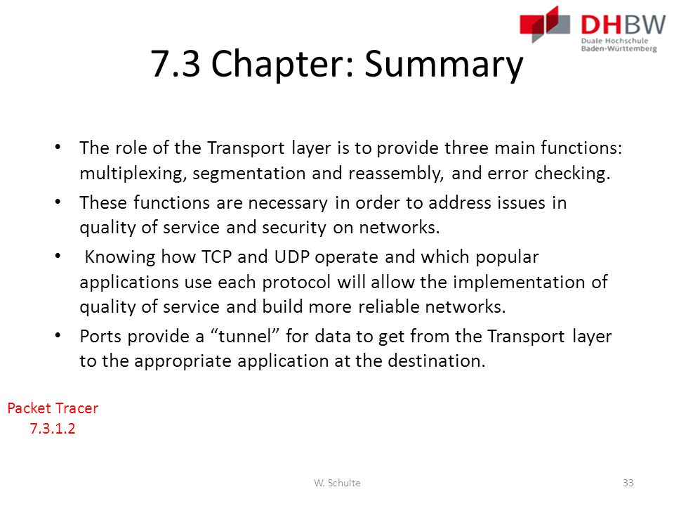 7.3 Chapter: Summary The role of the Transport layer is to provide three main functions: multiplexing, segmentation and reassembly, and error checking