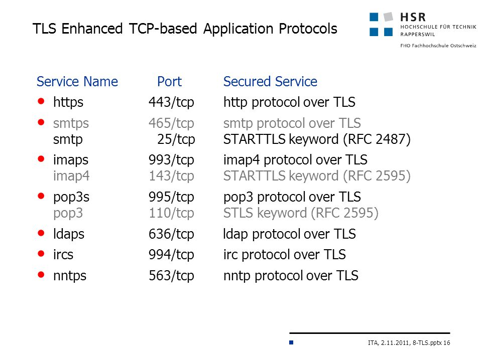 ITA, 2.11.2011, 8-TLS.pptx 16 TLS Enhanced TCP-based Application Protocols Service Name PortSecured Service https 443/tcp http protocol over TLS smtps 465/tcp smtp protocol over TLS smtp 25/tcpSTARTTLS keyword (RFC 2487) imaps 993/tcp imap4 protocol over TLS imap4143/tcpSTARTTLS keyword (RFC 2595) pop3s 995/tcp pop3 protocol over TLS pop3110/tcpSTLS keyword (RFC 2595) ldaps 636/tcp ldap protocol over TLS ircs 994/tcp irc protocol over TLS nntps 563/tcp nntp protocol over TLS