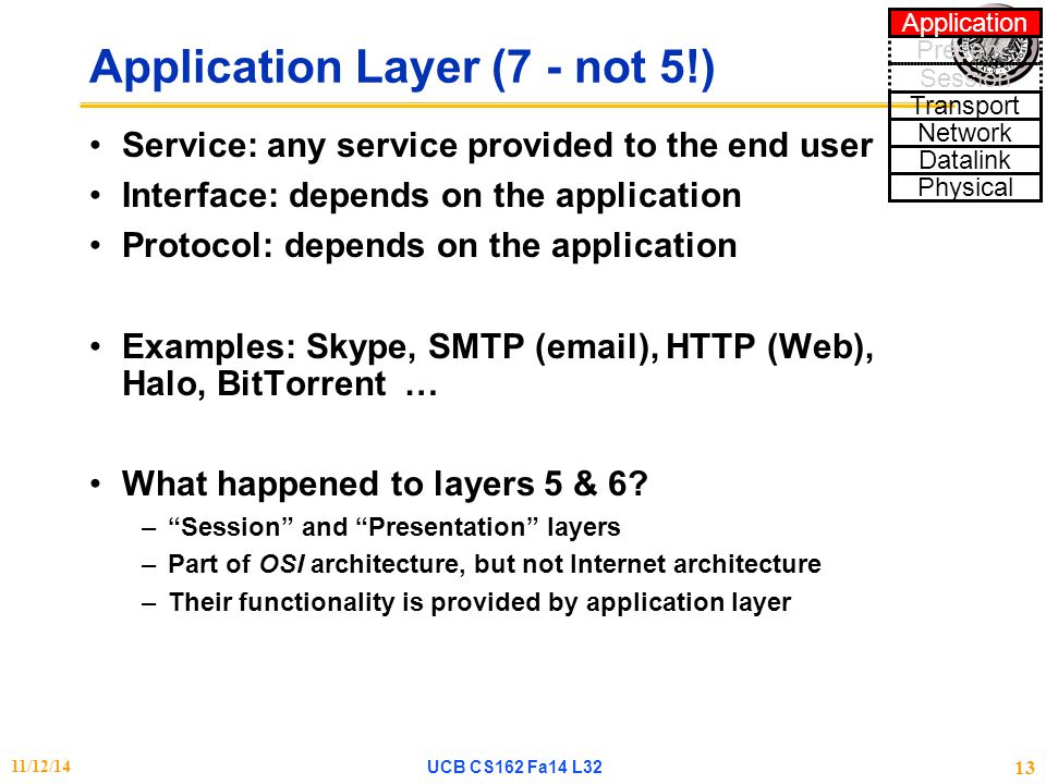 Application Layer (7 - not 5!) Service: any service provided to the end user Interface: depends on the application Protocol: depends on the applicatio