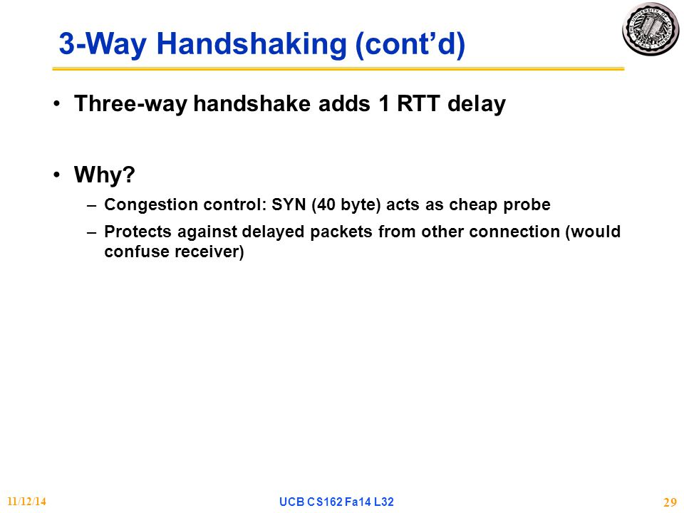 3-Way Handshaking (cont'd) Three-way handshake adds 1 RTT delay Why.