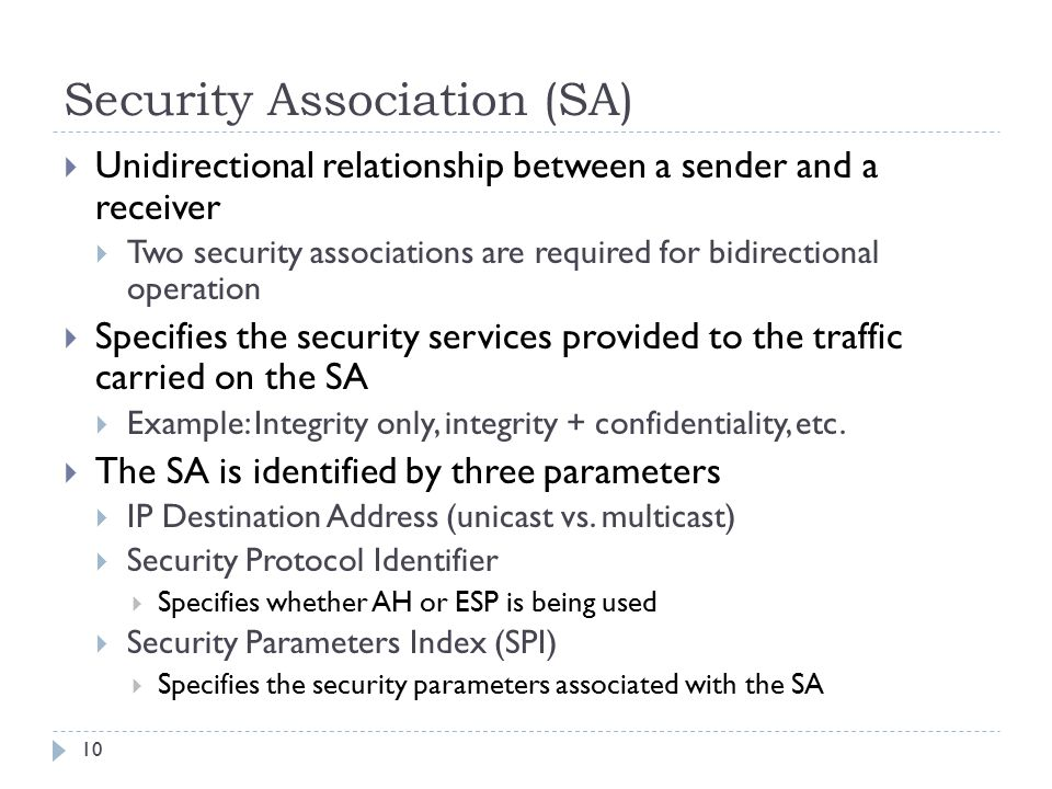 Security Association (SA) 10  Unidirectional relationship between a sender and a receiver  Two security associations are required for bidirectional operation  Specifies the security services provided to the traffic carried on the SA  Example: Integrity only, integrity + confidentiality, etc.