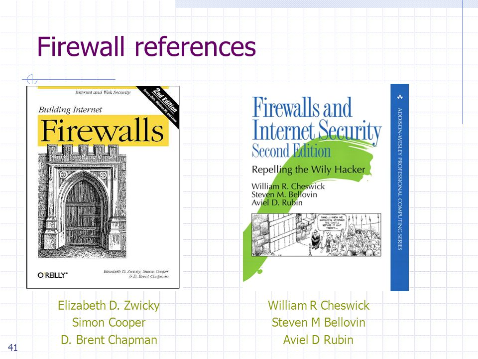 41 Firewall references Elizabeth D. Zwicky Simon Cooper D.